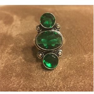 NEW! Sterling Silver Emerald Statement Ring